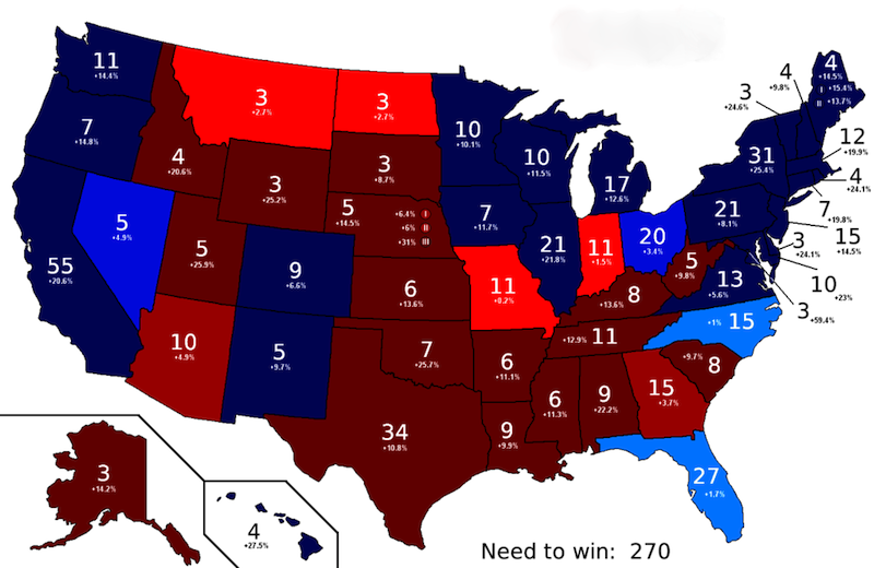 Current 2008 US Electoral College Polling Map